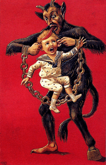 Early illustration of Krampus capturing a small child