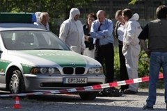 Police investigate the scene of a Phantom of Heilbronn crime