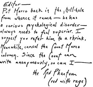 Red Phantom letter sent to San Francisco Chronicle on July 8, 1974 (postmarked San Rafael, California)