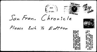 Envelope for Exorcist letter sent to San Francisco Chronicle on January 29, 1974 (postmarked San Francisco)