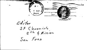 Concerned citizen letter sent to San Francisco Chronicle on May 8, 1974 (postmarked Alameda County)