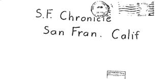 Envelope for Kathleen Johns letter sent to San Francisco Chronicle on July 24, 1970 (postmarked San Francisco)