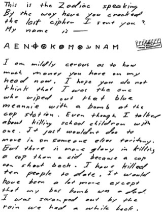 """""""My name is"""" letter sent to San Francisco Chronicle on April 20, 1970 (postmarked San Francisco) - to date the cipher is unsolved"""