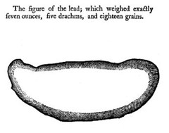 Drawing of solid lead taken from man who accidentally swallowed molten lead (1755)