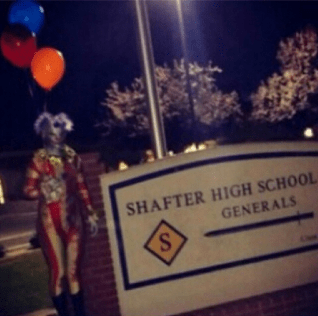 One scary clown was reported outside Shafter High School in California