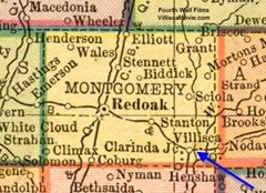 Map of Montgomery County, Iowa showing location of Villisca