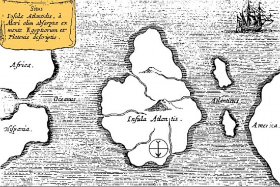 Athanasius Kircher's map of Atlantis, in the middle of the Atlantic Ocean. From Mundus Subterraneus 1669, published in Amsterdam. The map is oriented with south at the top.