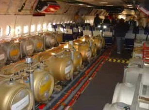 Airplane interior purportedly containing chemtrail canisters - often debunked