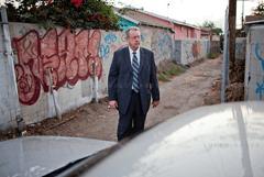 Detective Dennis Kilcoyne in the alley where the body of Debra Jackon was discovered in 1985