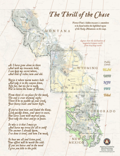 Forrest Fenn treasure map with green shaded areas showing areas where pinion nuts grow