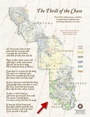 Map of area Forrest Fenn's treasure is located along with an overlay of areas were Pinion nuts grow