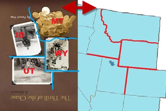 When the book is turned upside down, the four photographs on the cover resemble the states of Idaho, Utah, Wyoming, and Montana