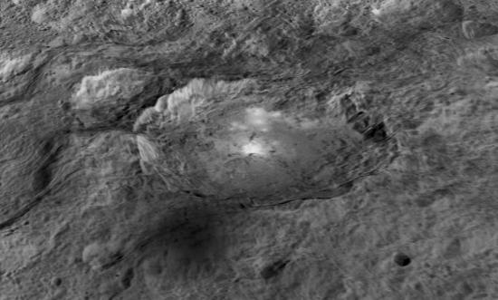 """""""Spot 5"""" in Occator Crater (enhanced; May 2015)."""