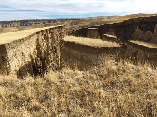 This gashin the earth in Wyoming measures over seven football fields long