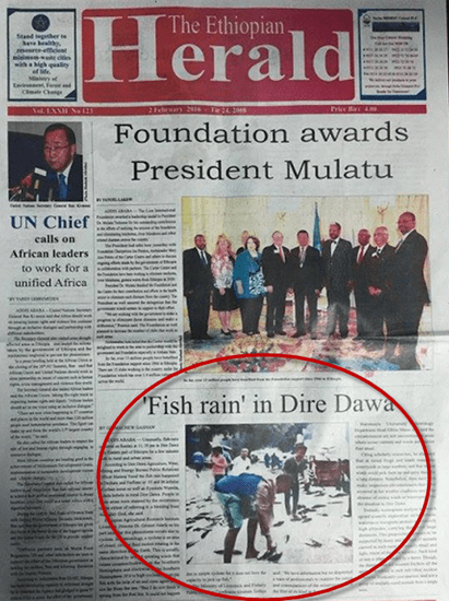 The Ethiopian Herald reports fish raining from the sky over Dire Dawa
