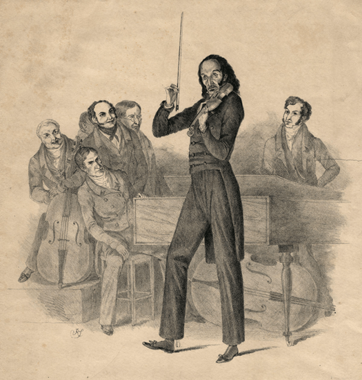 Niccolo Paganini on the cover of a program advertising his concert