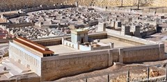 Model rendering showing the Third Temple standing atop Temple Mount in Jerusalem