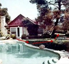 Pool area of the Polanski-Tate home - red arrows show path Folger took when fleeing from Krenwinkel