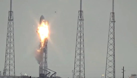 SpaceX Falcon UFO - passing over rocket