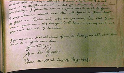 "Last page of Maybrick diary with signature ""Jack the Ripper"""