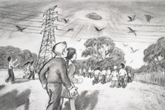 An illustration of the Westall School UFO event