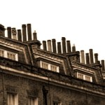 Clusters of chimneys in Victorian England