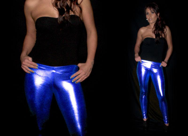 Blue Metallic Leggings