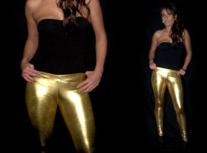 Gold Wetlook Metallic Leggings