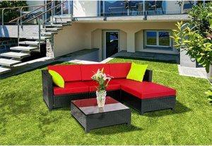 MCombo 5PC Deluxe Aluminum Frame Outdoor Garden Patio Rattan Wicker Furniture Sectional Sofa Set Cushioned Seats