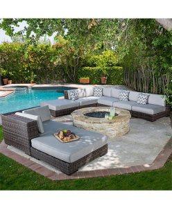 Bowen Outdoor 8pc Light Brown Wicker Sunbrella Sofa Sectional