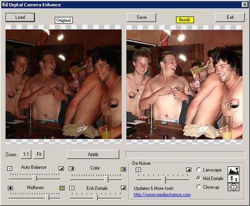 Digital Camera Enhance hellt dunkle Fotos automatisch auf. Links das Original, rechts die optimierte Version.