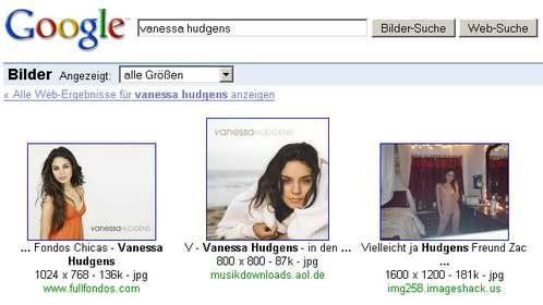 Vanessa Hudgens nackt - immer noch auf Position 3 in der Google-Bildersuche. Nur anders verlinkt.