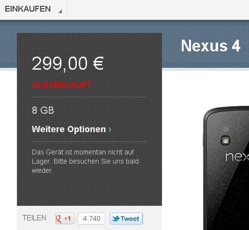 Nexus 4 - ab sofort ausverkauft
