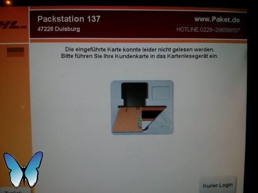 Packstation: Die eingeführte Karte konnte leider nicht gelesen werden.