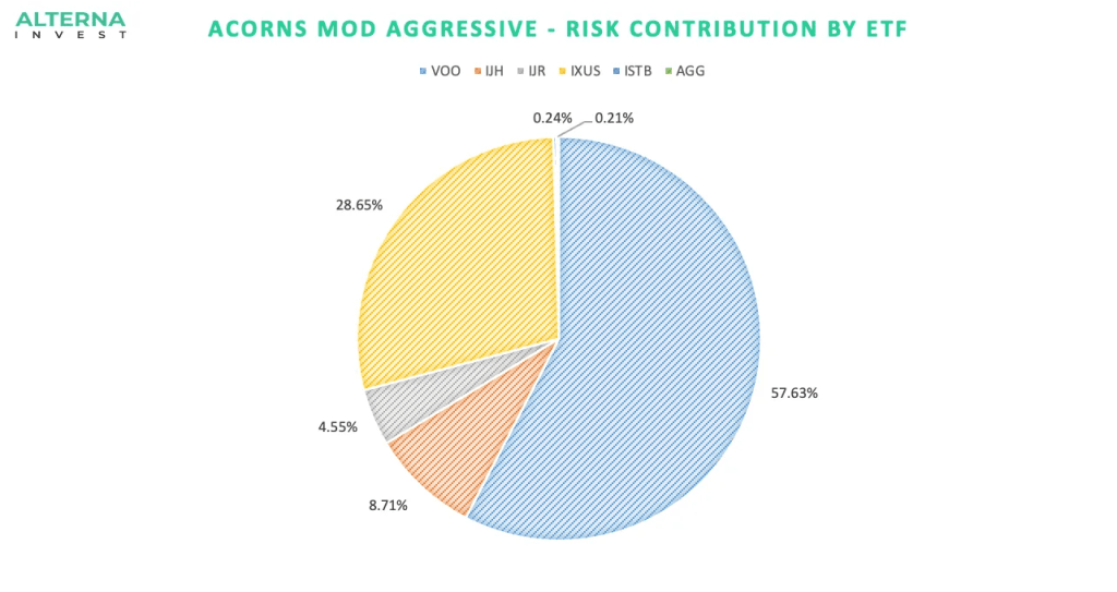 Acorns Moderately Aggressive Risk Contribution by ETF
