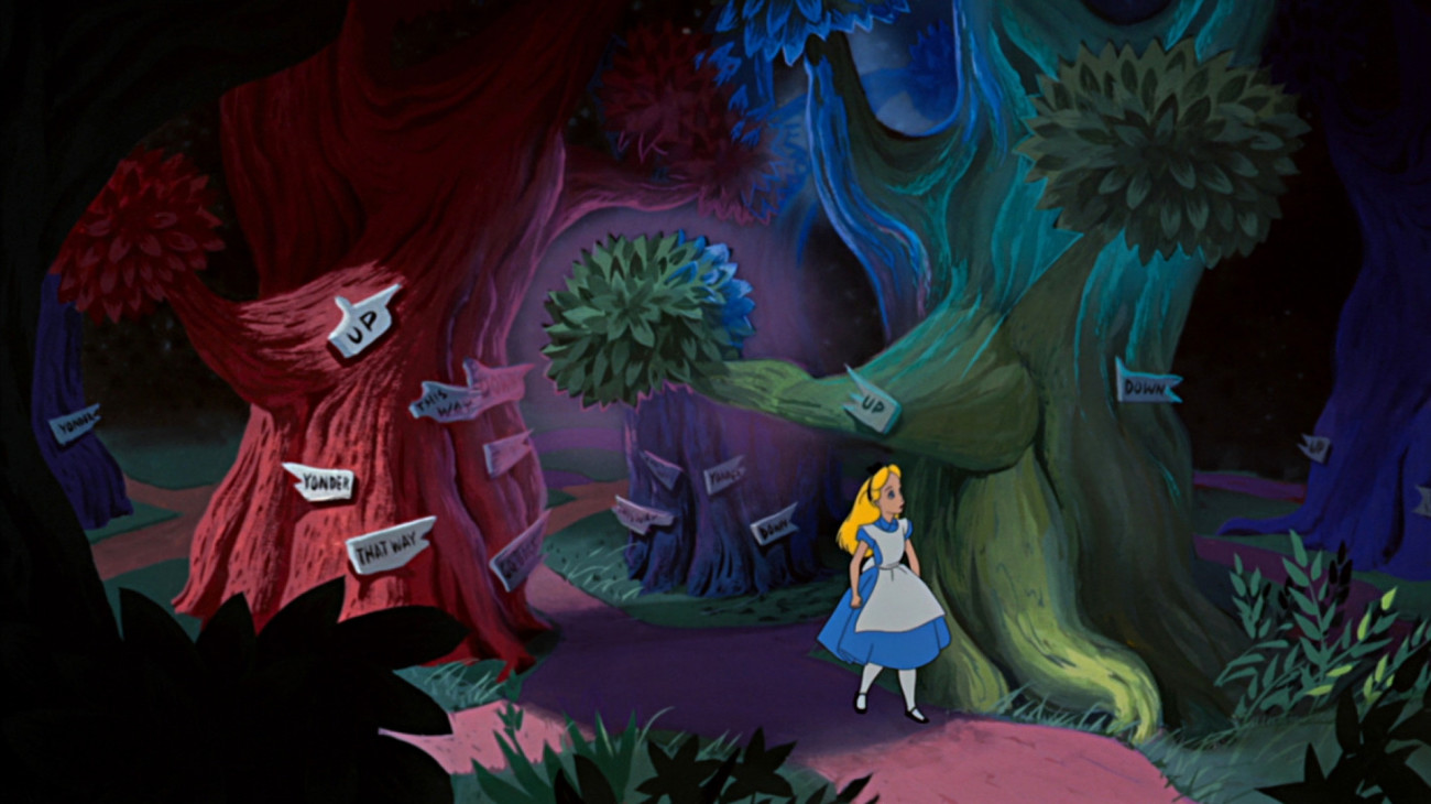 Image result for alice in wonderland 1951 tulgey wood