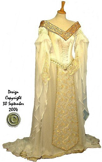Rossetti Mediaeval Celtic Elvish Ethereal Embroidered Wedding Gown with Cloak