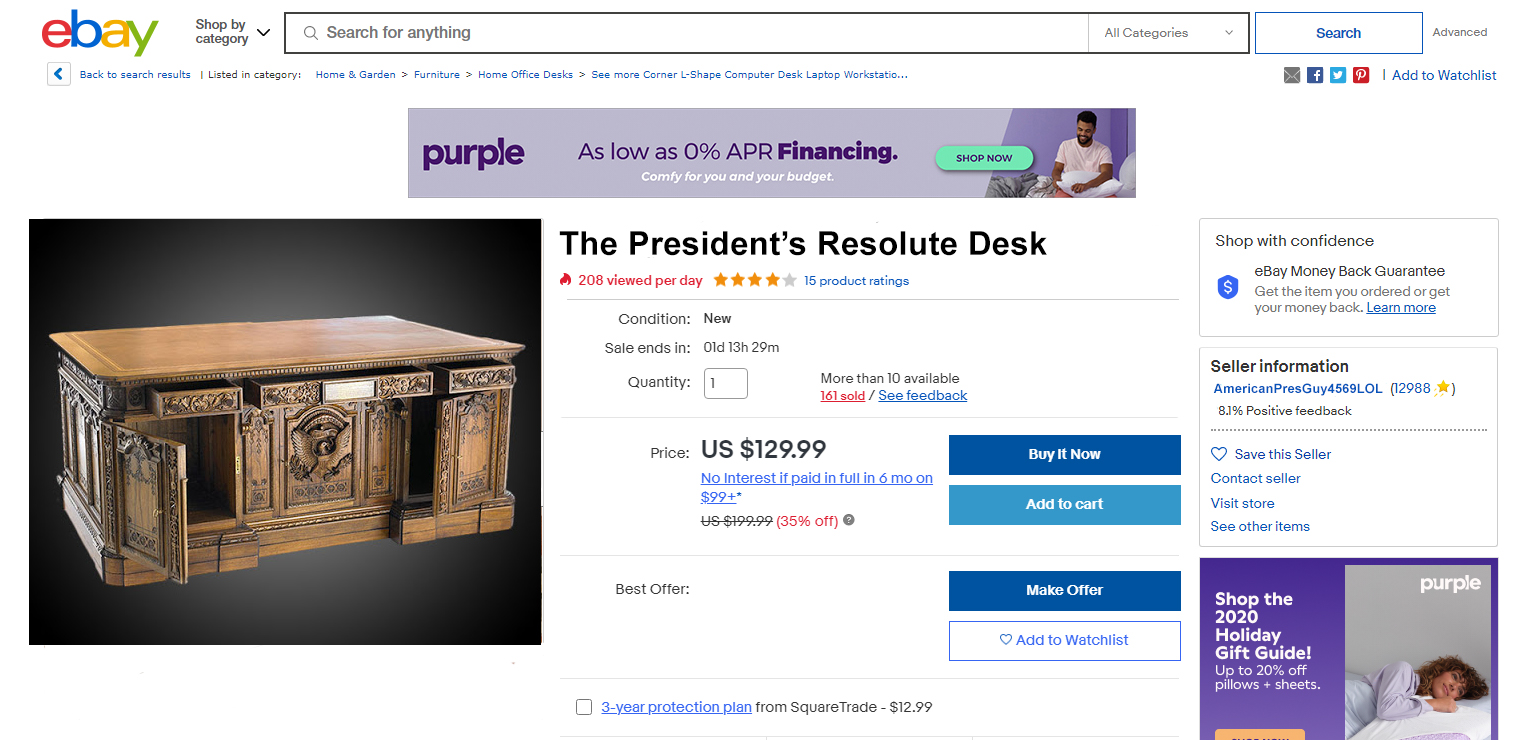 Users Spot eBay Listings for The Lincoln Bedroom Set and The President's Resolute Desk