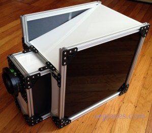 a black and white, aluminum and acrylic large format camera prototype