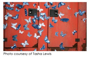Some of Tasha Lewis's cyanotype butterflies affixed to metal doors