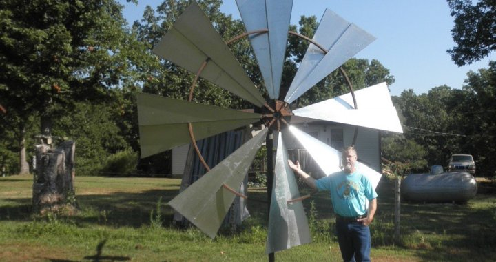 Calvin Allen with Ground Wind Turbine