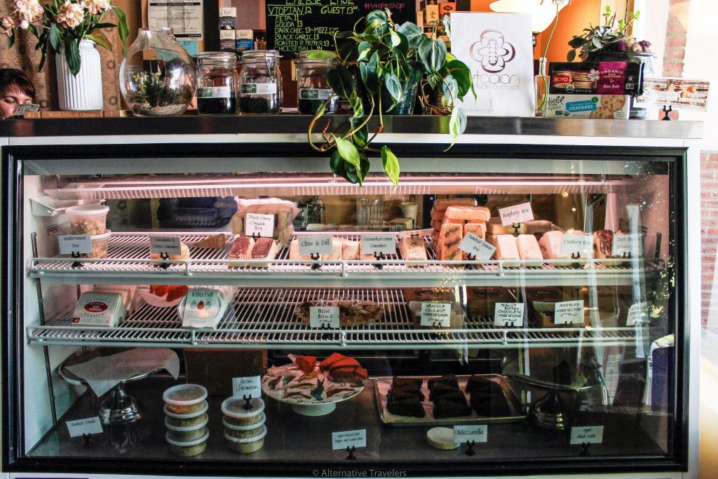 deli counter full of vegan cheese at Vtopia in Portland