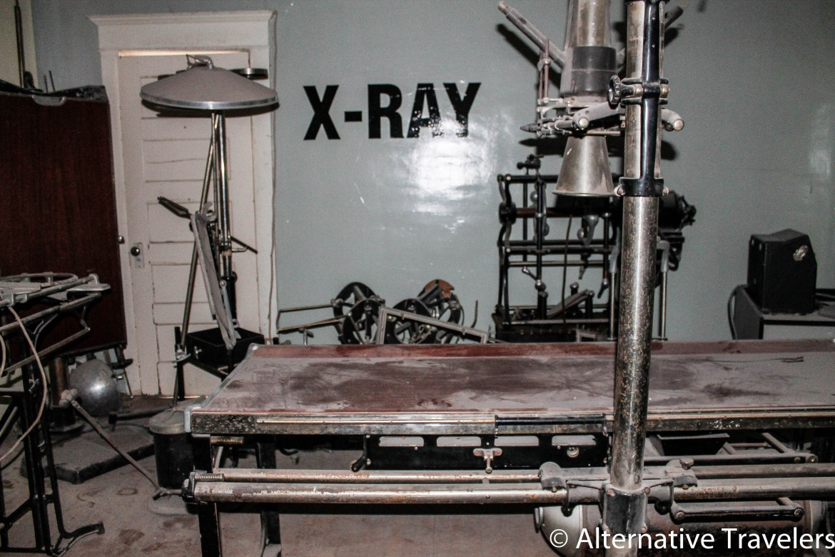 All of the old surgery equipment was shoved into a dark room off the main hallway.