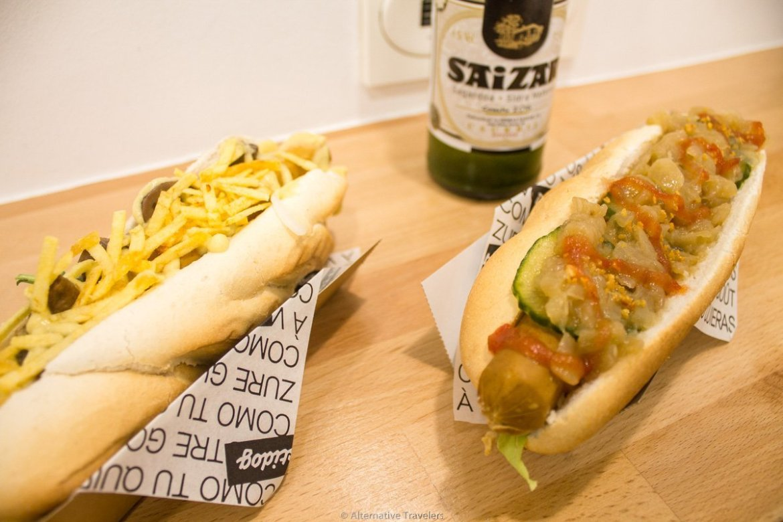 Vegan hotdogs at DonostiDog at San Sebastian, Spain