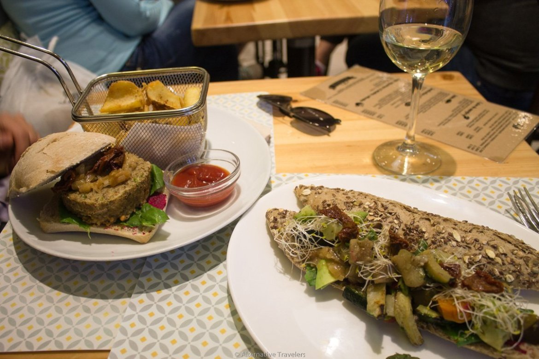 vegan burger and sandwich at Maiatza in San Sebastian, Spain