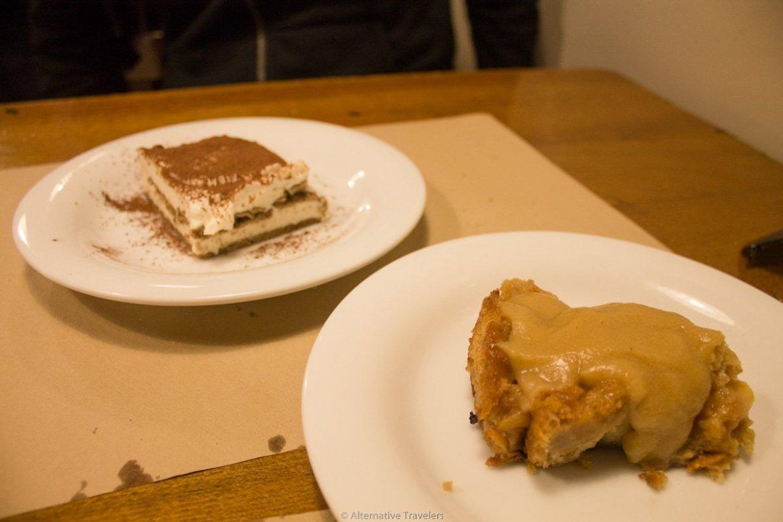 tiramisu and apple pie at Km.0, San Sebastian, Spain