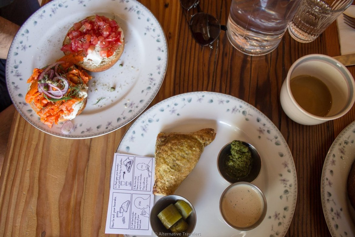 bagel with carrot lox and bureka at Aviv in Portland
