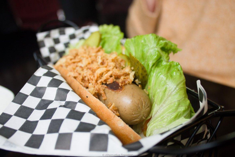 Vegan hot dog at Hot Dog House, Bilbao, Spain