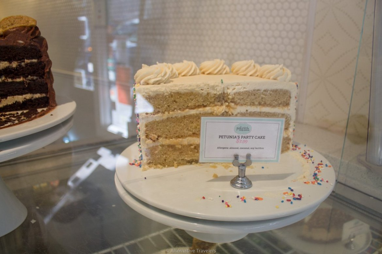 gluten free vegan cake in Portland at Petunias