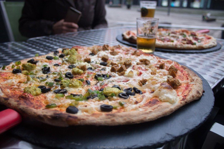 vegan pizza at Trozo Pizzeria in Bilbao, Spain.